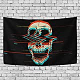 Baofu Skull Tapestry Wall Hanging Tapestries Trippy Skeleton Scare Hippie Psychedelic Art Funny Polyester Carpet Decorative for Living Room Bedroom 60x40inch
