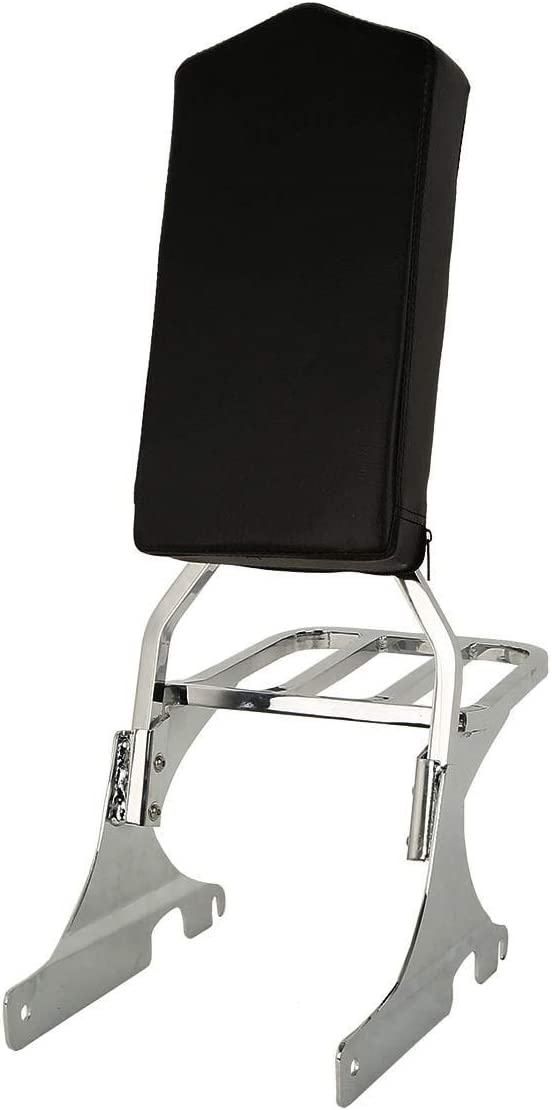 TCMT Chrome Sissy Bar Backrest W So Fits Rack Harley For OFFicial shop free Luggage