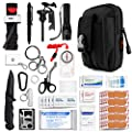 Kitgo Emergency Survival Gear and Medical First Aid Kit - IFAK Outdoor Adventure Camping Hiking Military Essential - Pro Compass, Fire Starter, Tourniquet, Flashlight and More (Black)