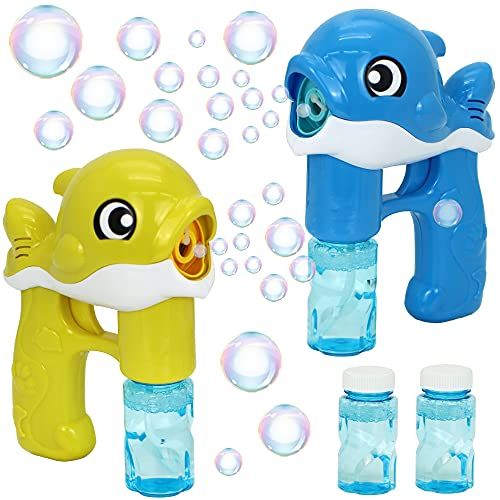 JOYIN 2 Bubble Guns Kit Whale Automatic Bubble Maker Blower Machine with 4 Bubble Solutions for Kids, Bubble Blower for Bubble Blaster Party Favors, Summer Toy, Birthday, Outdoor & Indoor Activity