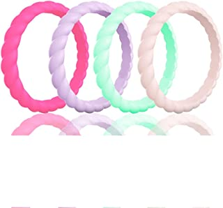 Silicone Wedding Ring for Women,10/4/1 Pack Sport Fan Rings,Thin Stackble Braided Rubber Wedding Bands,Comfortable&Durable, Skin Safe