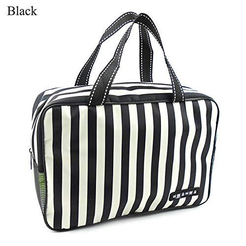 Trousse De Voyage Mode Design Femme Sac cosmétique imperméable Oxford Stripe Sac Organisateur Voyage haute capacité Hommes Natation respirante Mesh Bag (Color : Black)