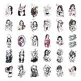 BJKKM Duradero 30 Hojas/Set Fake Tattoo Little Vintage Vieja Escuela Estilo Girls Mujeres Tatuaje Temporal Pegatina Cuerpo Manos Muñeca Tatoo Impermeable para la Fiesta del Festival (Color : A)