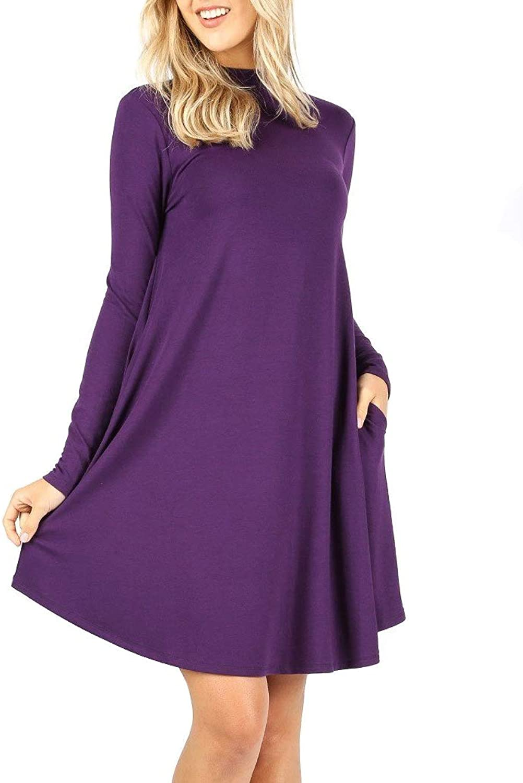 12 Ami Mock Neck Long Sleeve Flowy Pocket TShirt Midi Dress (S3X)