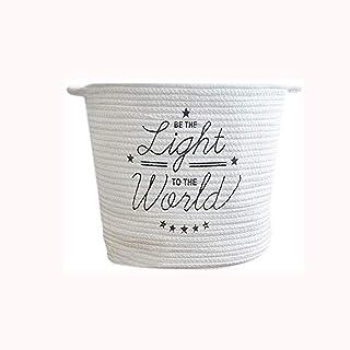 ECSWP Coton tissé Panier de Rangement, écologique Coton Fil Préparation Multi-usages de Stockage Bucket Vêtements Panier d...