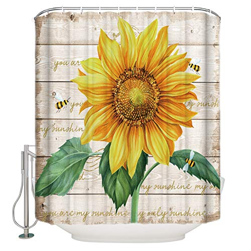 Polyester Shower Curtain Close Up Farm Sunflowers Bath Curtain for Bathroom, Baby Room, Living Room, Bedroom, Study Room, Kitchen Set with Hook Flying Bees FFresh Floral Retro Wood Large 72 x 72 Inch