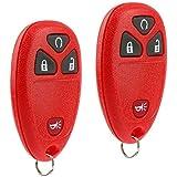 Key Fob Keyless Entry Remote fits Chevy Silverado Traverse Equinox Avalanche/GMC Sierra/Pontiac Torrent/Saturn Outlook Vue 2007 2008 2009 2010 2011 2012 2013 2014 2015 2016 (Red), Set of 2