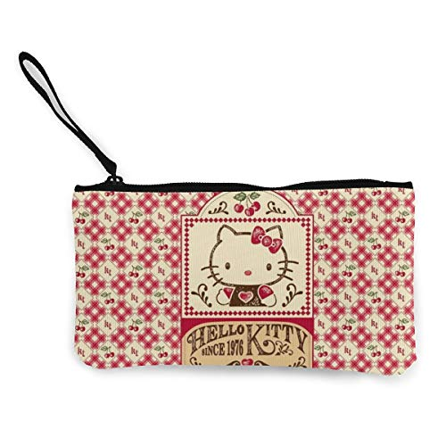 Hello Kitty Canvas Coin Purse Travel Makeup Pencil Pen Case Clip with Zipper Cash Pouch for Students Women and Men