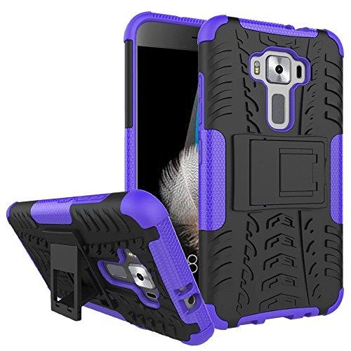 Sunrive Für ASUS ZenFone 3 ZE520KL 5,2 Zoll, Hülle Tasche Schutzhülle Etui Hülle Cover Hybride Silikon Stoßfest Handyhülle Hüllen Zwei-Schichte Armor Design schlagfesten Ständer Slim Fall(lila)