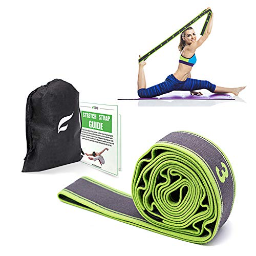 Exercise Resistance Band, High Elastic Resistant 9 Loops Yoga Stretching Strap, Ideal for Tone Muscles Dancer Gymnast Warm up Rehab Physical Therapy Recovery Flexibility Hamstring, Free Bag and Guide