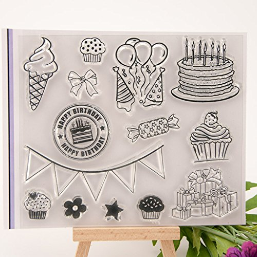 Fogun Happy Birthday Clear Transparent Stamp DIY Crafts Silicone Rubber Scrapbooking