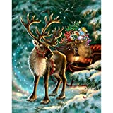 DIY 5D Diamond Painting Kit Full Round Drill Round Rhinestone Embroidery Pictures Arts for Home Wall Decoration Santa Reindeer Snowman 11.8x15.7in 1 Pack by Cenda