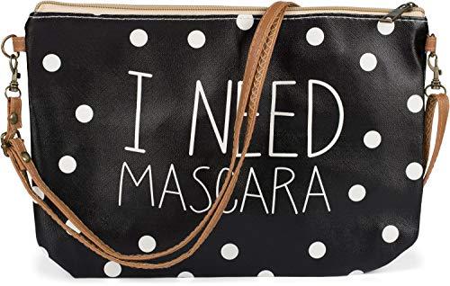 styleBREAKER Dames kleine schoudertas 'I NEED MASCARA' met stippen Polka Dot patroon, schoudertas, tas organizer 02012317