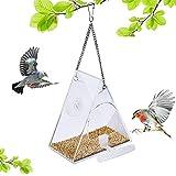 Comedero para Pájaros Acrílico Transparente Comedero Pájaros para Ventana Caseta para pájaros de Ventana caseta para pájaros para Ventanas para pájaros Decoración de Ventanas de jardín (triángulo)