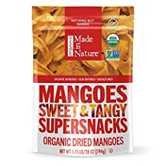 ORGANIC DRIED MANGOES: Includes (1) 28 oz Resealable Bag of Made in Nature Organic Dried Mangoes - That's it. The entire ingredient list. Seriously. NATURALLY SWEET & TANGY: These sweet and tangy strips of Mango are bursting with fresh, sun-ripened f...
