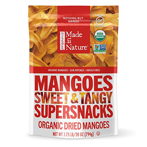 Made in Nature Organic Dried Fruit, Mangoes, 28oz Bag – Non-GMO, Unsulfured Vegan Snack
