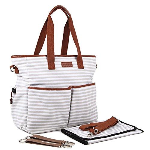 Riverland(リバーランド)マザーズバッグ デザイナー トートバッグ 大容量 おむつ替えシート セット 3way (グレー)