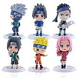 Naruto Figures Cake Topper, FANDE 6PCS Personaggi Naruto Birthday Decorazioni Party Supplies per Bambini Doccia di Compleanno Decorazioni