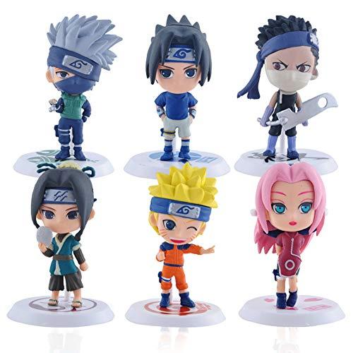 Naruto Cake Topper, BKJJ 6 Stück Naruto Mini Figuren Set Naruto-Figuren Modell Kuchen Dekoration Lieferungen Cake Topper für Geburtstag Party Kinder