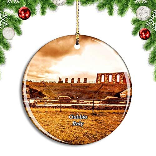 Weekino Italien Gubbio Römisches Theater Weihnachtsdekoration Christbaumkugel Hängender Weihnachtsbaum Anhänger Dekor City Travel Souvenir Collection Porzellan 2,85 Zoll