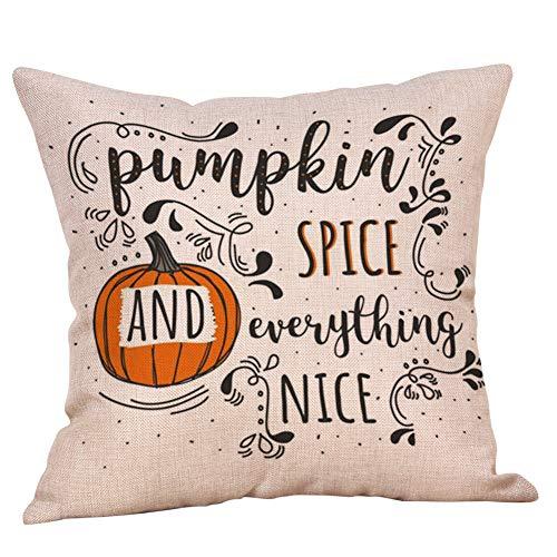 Wakeu Fall Pillow Covers 18x18 Halloween Decorative Pillowcases Pumpkin on Truck, Maple Leaf,Cartoon Deer Cushion Case with Zipper Home Sofa (05)