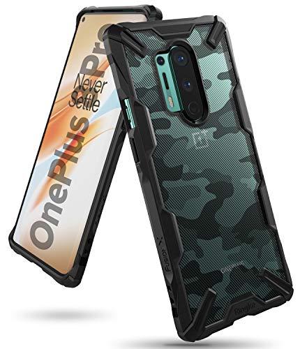 Ringke Fusion-X Kompatibel mit OnePlus 8 Pro Hülle, Doppelte Hybrid Schutz vor Militär Muster Rückseite mit Ketten Loch - Camo Black Schwarz