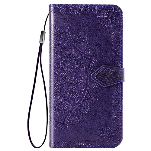 TANYO Hülle Geeignet für Realme X2 Pro, Wallet Tasche Hülle, Retro Blumen Muster Design, [Ultra Slim][Card Slot][Handyhülle] Flip Wallet Hülle. Lila