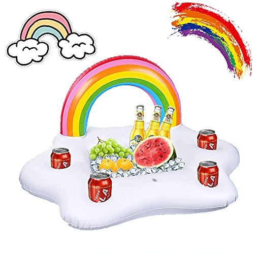 Shengruili Aufblasbarer Regenbogen Coasters,Aufblasbarer Getränkehalter Regenbogen,Wolke Getränkehalter,Wasser Spaß Dekoratione,mit 4 Getränk Löchern u. 1 rechteckiger