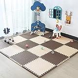 E.enjoy-Suelos de Gimnasio Baby Foam Pad Suelo Puzzle La Alfombra es Adecuada para Juegos de niños Planos y Ejercicios Deportivos (Color : Beige-Brown, Size : 9 Piece)