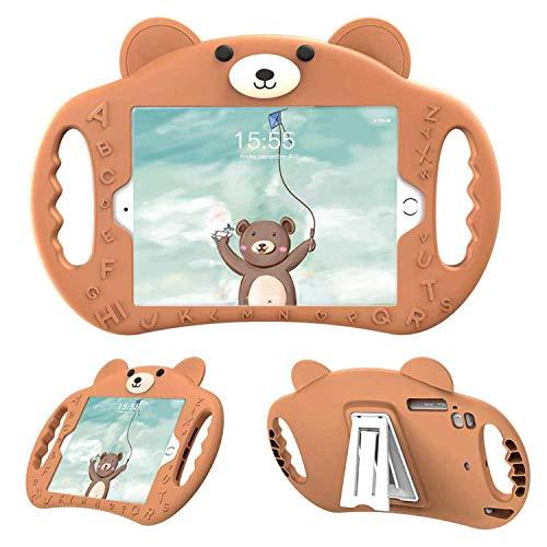 PZOZ - Carcasa infantil compatible con iPad 8/7 (10,2 pulgadas, 2020/2019, 8ª/7ª), funda de protección antigolpes para niños con soporte (marrón)
