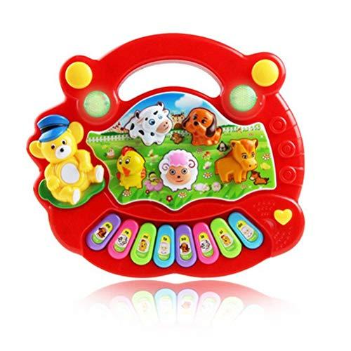 Achimer Musikspielzeug Baby Spielzeug Musikinstrumente für Baby Klavier Keyboard und Hammer Tier-Keyboard 17.5 * 15 * 3cm für Kinder, Jungen und Mädchen Spielzeug ab 1 2 3 Jahre