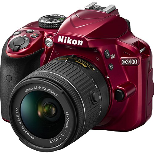 Nikon D3400 DSLR Camera w/ AF-P DX NIKKOR 18-55mm f/3.5-5.6G VR Lens - Red (Renewed)