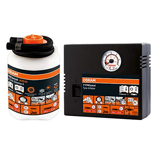 OSRAM OTSK4 TYREseal, sellador 450 ml analógico, Kit de reparación de neumáticos, repara pinchazos, 450ml + compresor