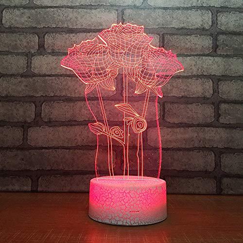 SUNCHTX Lampada da tavolo a LED a 7 colori a luce notturna con atmosfera visiva 3D Lampada da tavolo per camera da letto in acrilico per bambini in acrilico Regalo di Natale A-0867