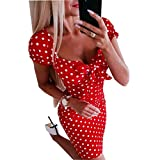 Loalirando - Vestido corto para mujer, corto, sexy y ajustado con cuello de lunares de manga corta con nudo y mariposa, color negro y rojo rojo XL
