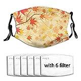 Popsastaresa Herbstliche japanische Ahornblätter,Staubwaschbarer wiederverwendbarer Filter und wiederverwendbarer Mundschutz gesicht mit 6 Filtern