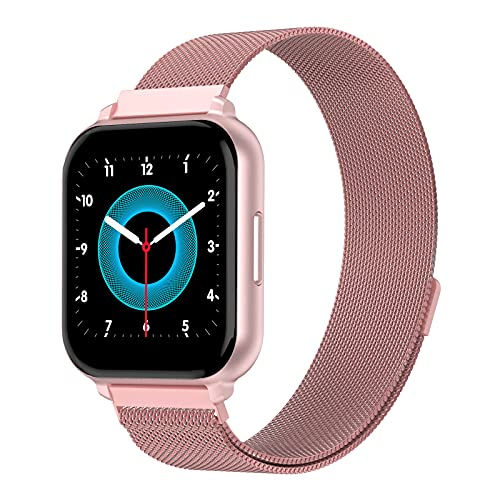 G.Home - Reloj inteligente, rastreador de fitness con monitor de sueño de presión arterial, contador de pasos, impermeable, compatible con iOS Android (oro rosa)