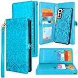 Harryshell Detachable Magnetic 12 Card Slots Wallet Case PU Leather Flip Protective Cover Wrist Strap for Samsung Galaxy S21+ S21 Plus 5G 6.7 Inch (2021) (Flower Blue)