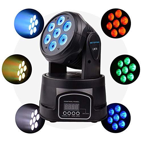 GENGJ-lampe Cabeza Movil LED Luces DMX Karaoke Profesional Iluminacion DJ 7X8w RGBW...