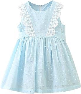 K-youth, Vestido de Princesa Sin Mangas Encaje de niñas Princesa Ropa Bebé Niños Vestido de niñas Verano Girls Dress Vestido para Niñas Fiesta Bebé Niñas Vestidos