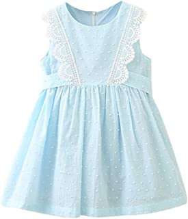 K-youth Vestido de Princesa Sin Mangas Encaje de niñas Princesa Ropa Bebé Niños Vestido de niñas Verano Girls Dress Vestid...