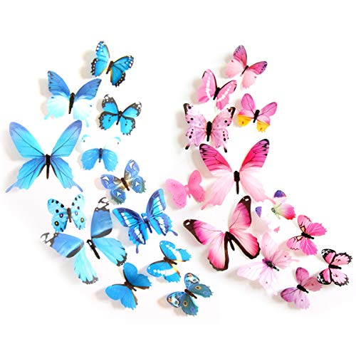 3D Butterfly Wall Sticker, 24 Pcs Multiple Sizes Simulation Butterfly Decals(Pink, Blue)