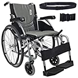 New Karman S-Ergo 125 ( S-Ergo125F16SS ) Ergonomic Wheelchair with Flip-Back Armrest and Swing Away Footrest in Silver, Fixed Wheel, 16 Seat Width by Karman Healthcare