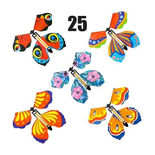 Auidy_6TXD 25 Stück Fliegender Schmetterling Bunt Magie Spielzeug, Gummi Band Powered Surprise Spielzeug für Kinder