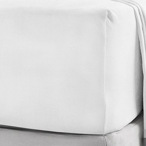 NIYS Luxury Bedding 100% Brushed Cotton Flannelette 40CM/16 Extra Deep Fitted Sheets in 12 Colours (Double, White)