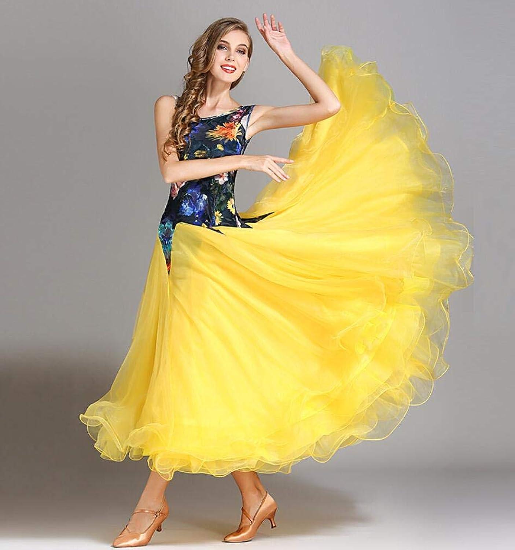 Z&X Modern Dance Dress For Women Large Pendulum Skirt Ballroom Costume Competition Pulled Velvet High Density Yarn