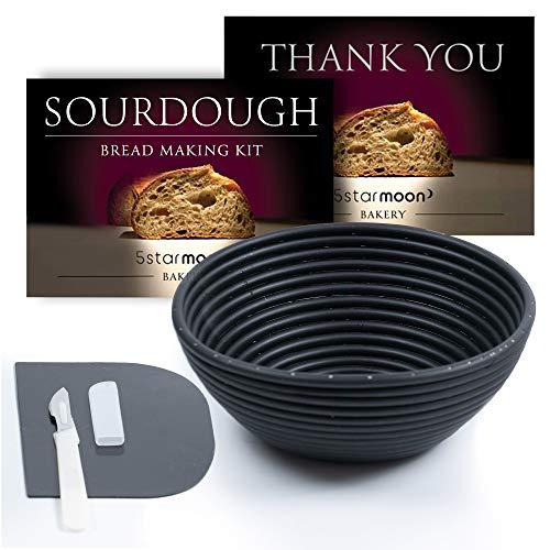 Sourdough Bread Proofing Basket Set-Baking Kit-Banneton Bread proofing Basket, Bench Dough Scraper, Bread Lame Scoring, Slashing Tool. Value Bread Making Tools for Rustic Sourdough Bread. Set of 3