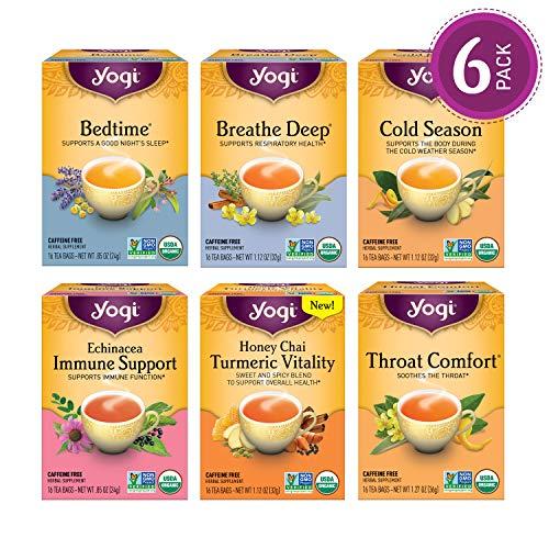 Yogi Tea - Get Well Variety Pack Sampler - 6 Teas for Cold & Flu Symptom Support - 6 Pack, 96 Tea Bags Total
