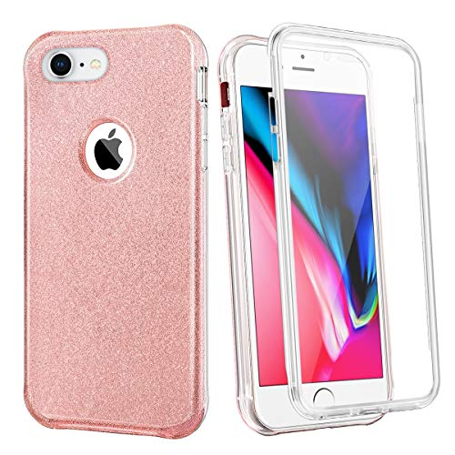 Coolden Case for iPhone 8 7 with Built-in Screen Protector Cute Bling Glitter Case Rugged Dual Layer Full Body Shockproof Cover Anti-Scratch Case for iPhone 8 7 SE 2020, Rose Gold