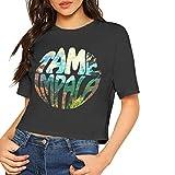 Tame Impala Shirt Sexy Exposed Navel Female T-Shirt Bare Midriff Crop Top (Black, M)